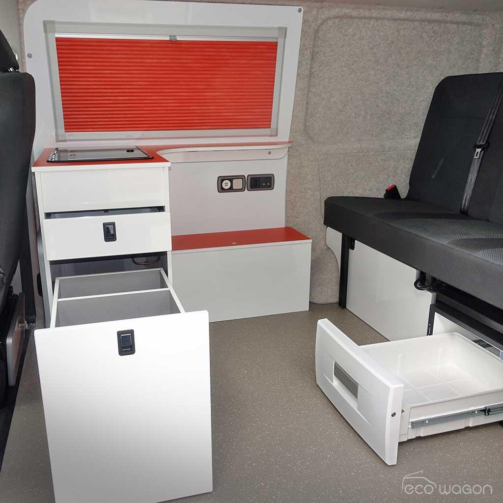 VW conversion under seat fridge