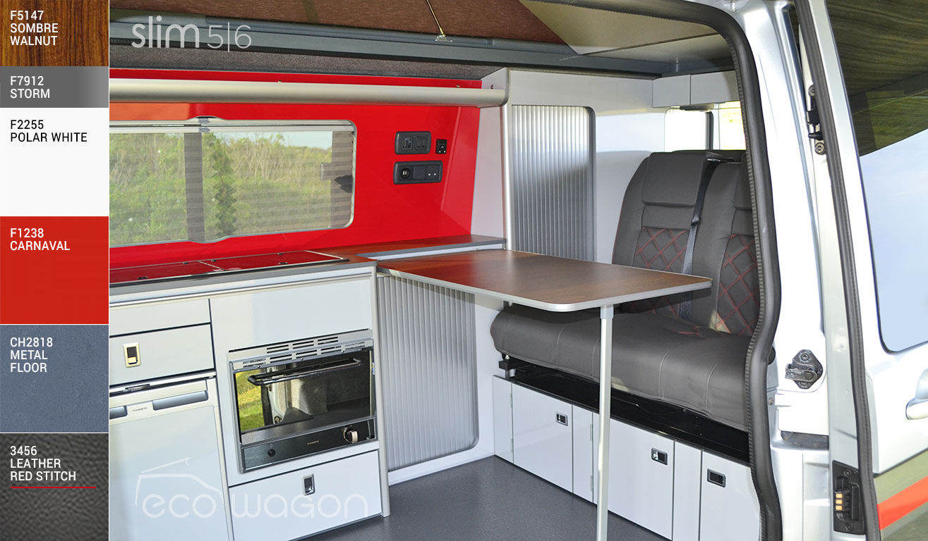 VW Transporter Groovy Red White Interior