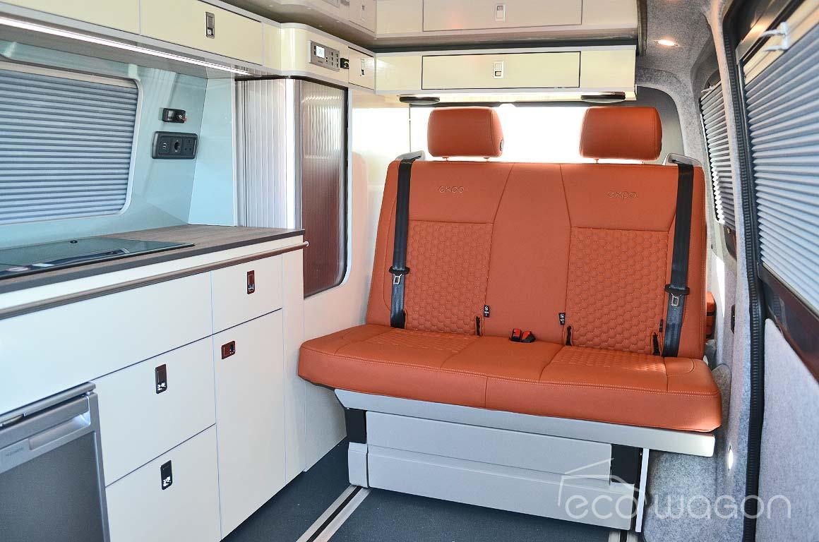 VW Campervan Orange Leather